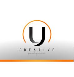 U letter logo design with black orange color cool vector