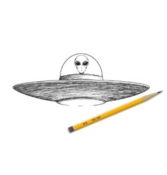 Ufo shaceship with alien vector image