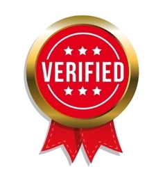 Verified badge with ribbon vector