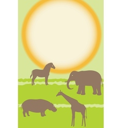 Vertical card with african animals vector image