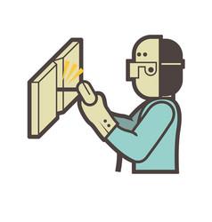 welder welding icon vector image