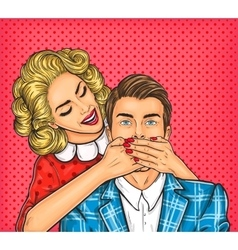 Woman close mouth to the her man vector