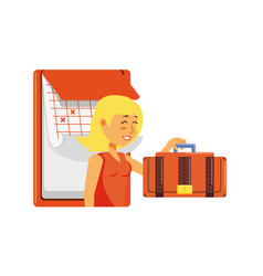 Woman tourist with suitcase and calendar vector