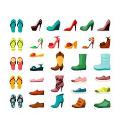womens mens shoes set elegant leather readings vector image