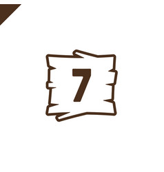 wooden alphabet blocks with number 7 in wood vector image
