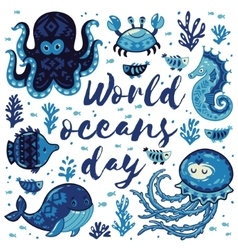 World oceans day Card with cute animals in vector image