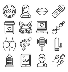 xxx sex icons set on white background line style vector image