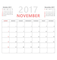 calendar planner 2017 november week starts sunday vector image vector image