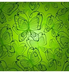 Green butterflys seamless patten vector image vector image