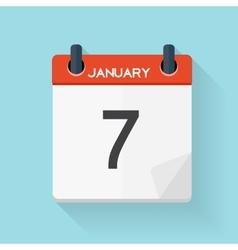 January 7 Calendar Flat Daily Icon vector image