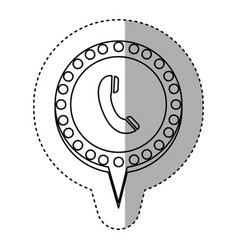 monochrome sticker with telephone and circular vector image