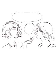 nice drawn two talking women lineart pop vector image