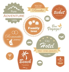 Travel and vacation label badge and emblem set vector image vector image