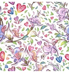 Abstract seamless pattern with flowers and hearts vector image vector image