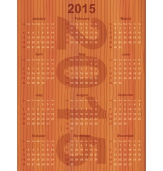 calendar 2015 on wood vector image vector image