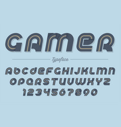 gamer decorative italic font design vector image