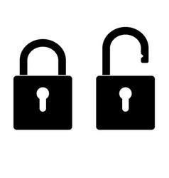 locked and unlocked padlock vector image