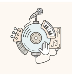 Music line icon vector image vector image