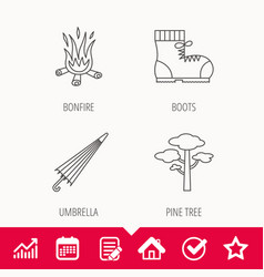Pine tree bonfire and hiking boots icons vector