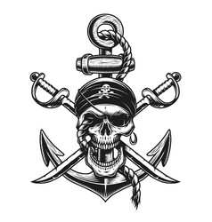 pirate skull emblem with swords anchor vector image vector image