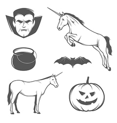Set of halloween characters and design elements vector image vector image