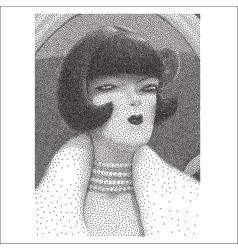 Arrogant young woman halftone portrait vector image