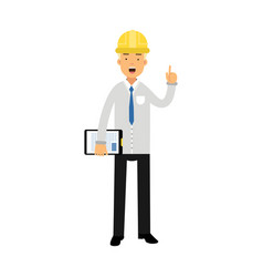 construction engineer or foreman in hard hat vector image vector image