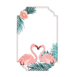 Exotic tropical border frame flamingo birds heart vector