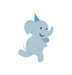 flat elephant character having fun running vector image vector image