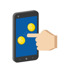 golden coins jump out of smartphone mobile vector image vector image