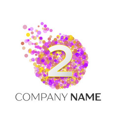number two logo red particles and bubble dots vector image