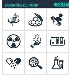 Set modern icons Laboratory equipment vector image