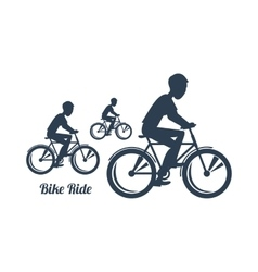 Teenagers Riding Bicycles Silhouettes Black Icon vector image vector image