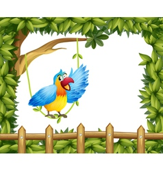 A parrot and the leafy green border vector image vector image