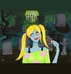 Back with zombie girl vector image