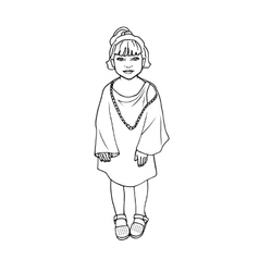 Doodle drawing little poor girl vector image vector image