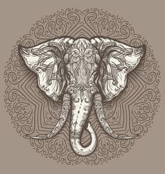 hand drawn elephant head on mandala background vector image vector image