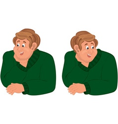 Happy cartoon man torso in green sweater vector image vector image