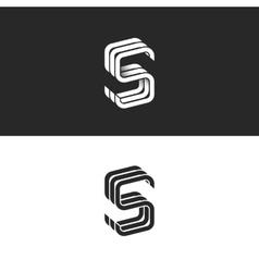 S logo monogram mockup isometric geometric shape vector image vector image