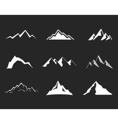 Set of mountain silhouette elements Outdoor icon vector image vector image