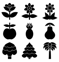 Set of simple black icon of flowers trees and vector image