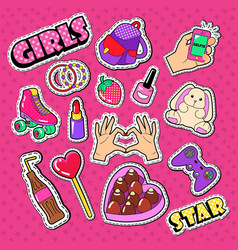 teenager girl stickers patches and badges vector image vector image