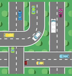 top view highway traffic in rush hour poster vector image vector image