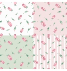 Watercolor pink roses Buds seamless pattern set vector image vector image