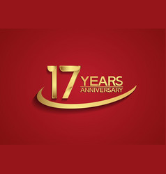 17 years anniversary logo style with swoosh vector