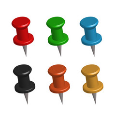 3d push pins on white background set 3d push vector image