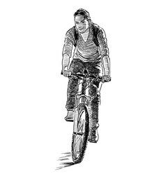 A city dweller ride a bicycle vector