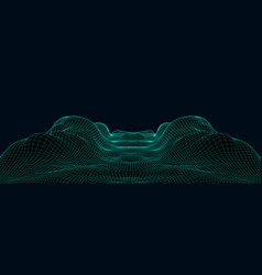 abstract cyber landscape or wave from mesh vector image