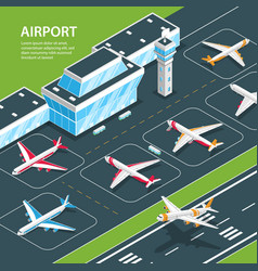 Airport isometric background composition vector