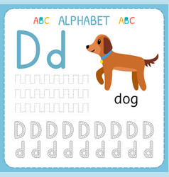 alphabet tracing worksheet for preschool and vector image